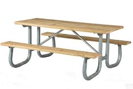 8 ft wooden picnic table with heavy duty welded galvanized steel