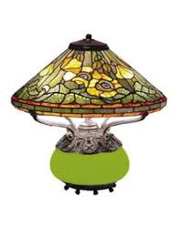 tiffany style allistar stained glass lit pedestal lamp green new