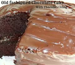 old fashioned chocolate cake with chocolate icing from cupcakes