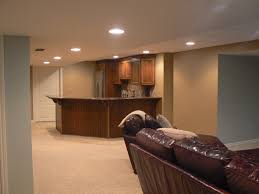 basement finished basements with leather sectional sofa and