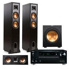 onkyo home theater receiver onkyo txrz710 7 2 channel receiver w klipsch r26f 3 1 reference