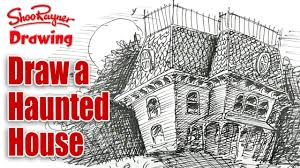 how to draw a haunted house spoken tutorial for halloween youtube