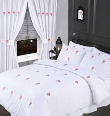 white u0026 pink colour stylish embroidered floral duvet cover luxury