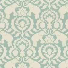 Blue Damask Upholstery Fabric Damask Aqua Blue Elephant Fabric Eclectic Drapery Fabric By