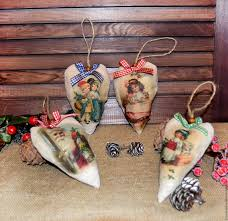 buy vintage christmas hearts from fabric decoupage on livemaster
