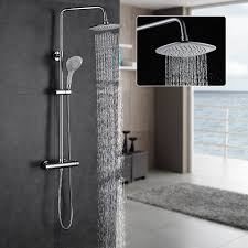auralum height adjustable thermostatic rainfall shower set anti