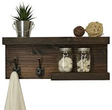 rustic modern decor two tier floating bathroom shelf hooks on