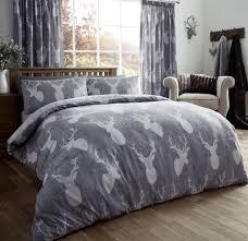 printed duvet set grey