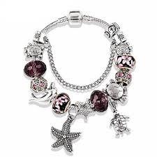 crystal glass bracelet images Dolphins starfish purple crystal glass bracelets givena shop jpg
