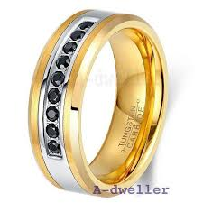 gold wedding bands for men s gold tungsten wedding bands with black diamonds stdwellers