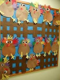 thanksgiving bulletin board where students a in creating