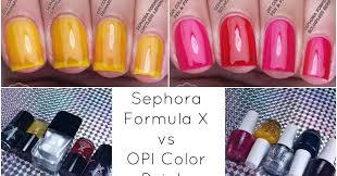 sephora formula x u0026 opi color paints comparison swatches