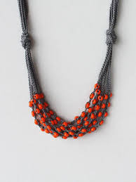 orange beads necklace images Dark grey gray cotton necklace crocheted with by boorashka on etsy jpg