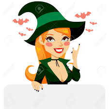 halloween witches costume red haired with green halloween witch costume smiling holding