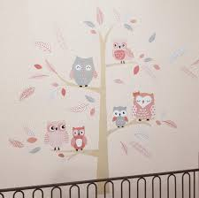 appliques murals babies lambs ivy r family tree coral gray gold owl jumbo wall
