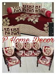 P Home Decor Combo Of Leaf Design Diwan Set And Sofa Cover Set - Sofa cover design