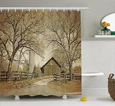 fabric shower curtain country decor by ambesonne old wooden