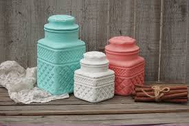 colorful kitchen canisters sets mint green and coral kitchen canister set from the vintage