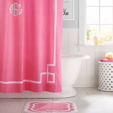 Bright Shower Curtain Ribbon Trim Shower Curtain Bright Pink Pbteen