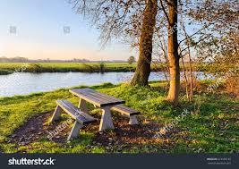 Landscape Timber Bench Wooden Bench River Shore Landscape Stock Photo 613138133