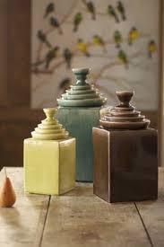 contemporary ceramic canister round country ivory 3 piece set