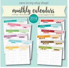 free printable 2016 monthly calendar a5 pages live craft eat
