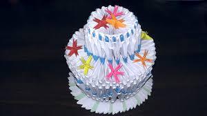 3d origami birthday cake pie tutorial youtube