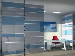 modern blue and white plastic room divider in office window