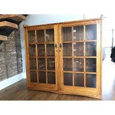 restoration hardware mission style oak u0026 glass bookcase aptdeco