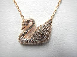 swarovski fashion necklace images Swarovski womens swan necklace with rose gold plating white jpg
