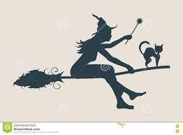 witch silhouette clipart flying young witch icon witch silhouette on a broomstick stock