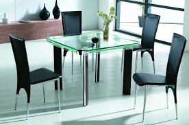 furniture cool chrome metal armless chairs dining table with round