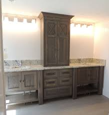 how to refinish bathroom cabinets furniture style bathroom vanity in white oak with grey brown stain