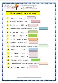 grade 3 maths worksheets subtraction 4 2 subtraction of 4 and 5