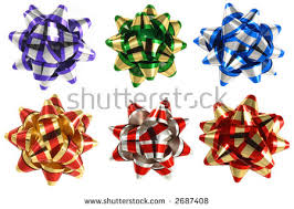 bows for presents isolated six colorful ribbon bows presents stock photo 2687408
