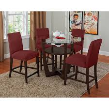 dining room stylish glass top round dining table with 4 red