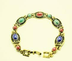 multi color stone bracelet images Multi color polished stone antique gold open bracelet jpg