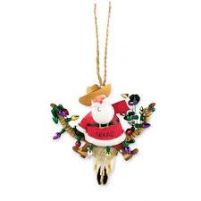 resin ornament santa longhorn ornaments cowboy and desert