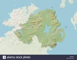 Northern Ireland Map Northern Ireland United Kingdom Relief Map Stock Photo Royalty