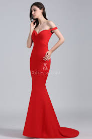 popular red off the shoulder hugging mermaid long evening prom