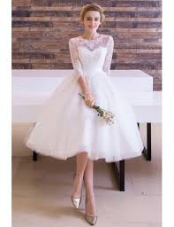 scoop neck lace wedding dress vintage tea length wedding dress a line scoop neck tulle with