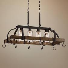 kitchen island pot rack lighting eldrige 36 1 2 wide 4 light bronze pot rack chandelier style