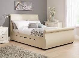 King Size Leather Sleigh Bed Realher Frame Ottoman Frames Brown King White Marvelous Sleigh