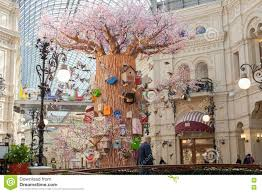 the interior decorated artificial tree birds and birdhouses in