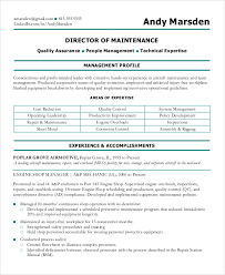 Maintenance Resume Examples by Sample Maintenance Resume 8 Examples In Pdf Word