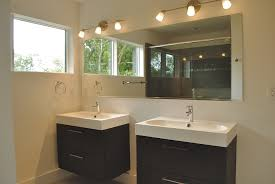 Combination Vanity Units For Bathrooms by Floating Brown Wooden Vanity With White Sink Combined With Mirror