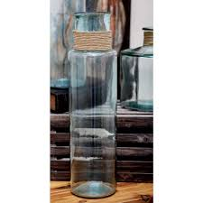 Clear Vases 22 In X 6 In Tall Novelty Vase In Clear Glass With Raffia