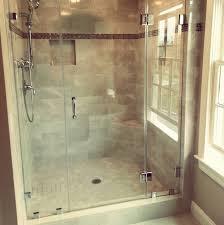3 Panel Shower Door 3 Panel Frameless Shower Door Traditional Bathroom Boston