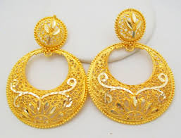 gold jhumka hoop earrings traditional chand bali design hoop earrings filigree 22k gold plated
