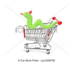 shopping cart with cute christmas snake stock illustration